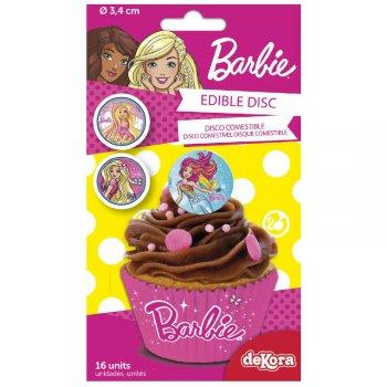 16 Mini Disques Barbie (3,4 cm) - Sucre