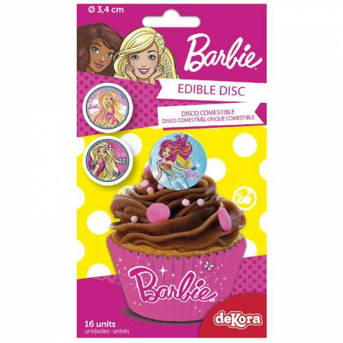 16 Mini Disques Barbie (3,4 cm) - Sucre