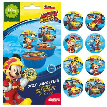 16 Mini Disques Mickey Racer (3,4 cm) - Sucre