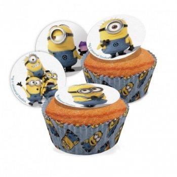 16 Mini disques Minions (3,4 cm) - Sucre