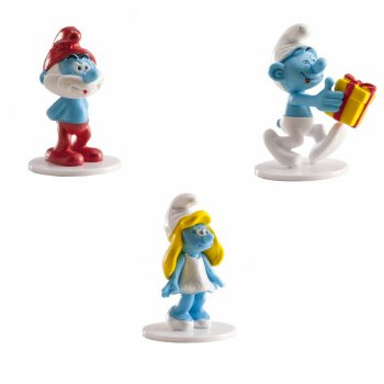 3 Figurines Schtroumpfs sur socle (5 cm) - PVC