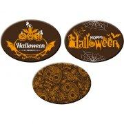 3 Déco Ovales Halloween Fun en Chocolat (5 cm)