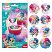 16 Mini Disques Shimmer & Shine (3,4 cm) - Sucre