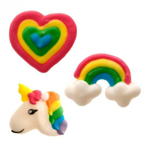 3 Décors Licorne Rainbow (3 cm) - Sucre