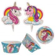 Kit 24 Caissettes + 24 Deco à Cupcakes Licorne Magique