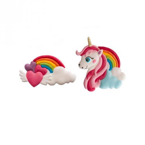 2 Décors Licorne + Rainbow (7 cm) - Sucre