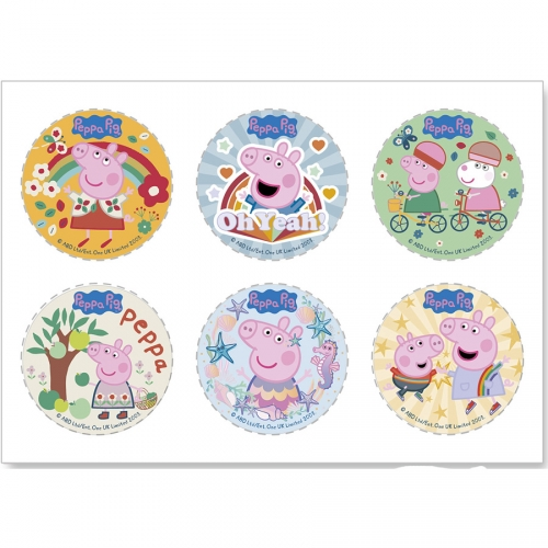 6 Mini Disque Peppa Pig - Azyme - sans E171