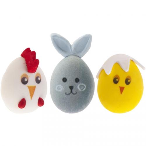 3 Œufs Têtes Animaux de Pâques - Sucre
