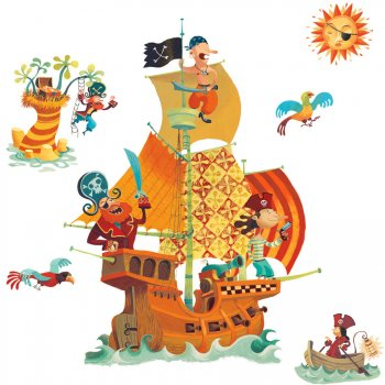 Stickers repositionnables - Bateau pirates