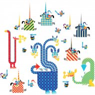 Stickers Repositionnables - Dragons et chevaliers