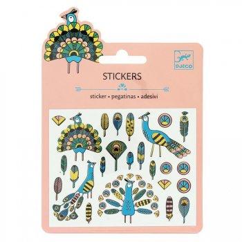 Mini stickers Plumes et paons