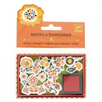 12 Mini tampons Fleurs + Encre rouge
