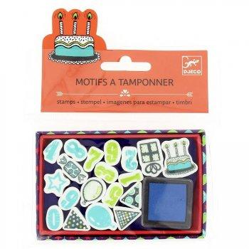 Mini tampons Anniversaire + Encreur bleu