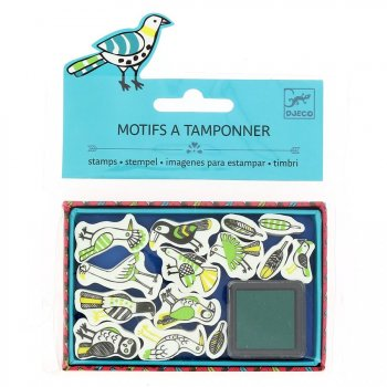 Mini tampons Oiseaux + Encreur vert foncé