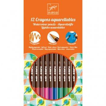 12 Crayons Aquarellables Djeco