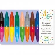 8 Crayons de Couleurs Bicolores