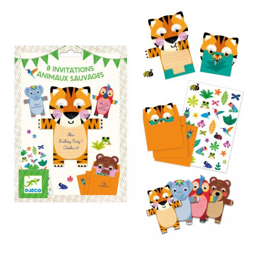 8 Invitations Animaux Sauvages + Stickers