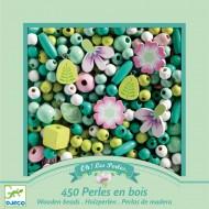 450 Perles en Bois - Feuilles et Fleurs