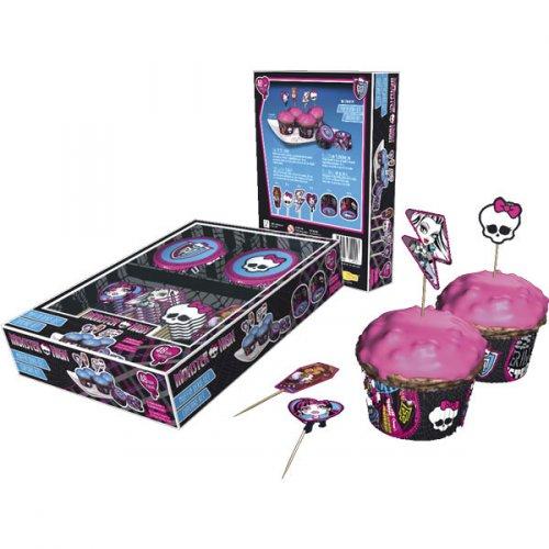 Kit 24 Caissettes et Déco à Cupcakes Monster High