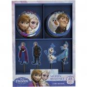 Kit 24 Caissettes à Cupcakes et Décors Reine des Neiges