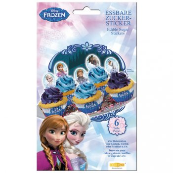 6 Stickers en sucre Reine des Neiges