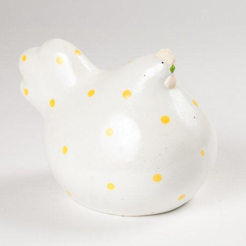 Poule Porcelaine Blanc à Pois jaunes