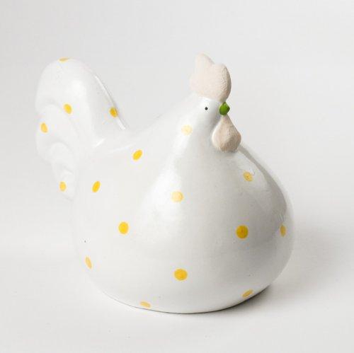Coq Porcelaine Blanc à Pois jaunes