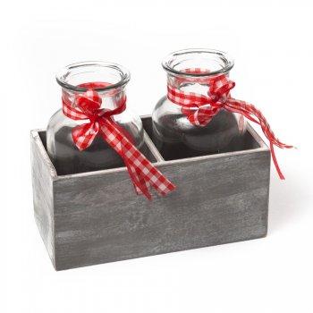 Duo de Vases Rubans rouges dans Casier Bois