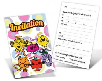 6 invitations Monsieur Madame