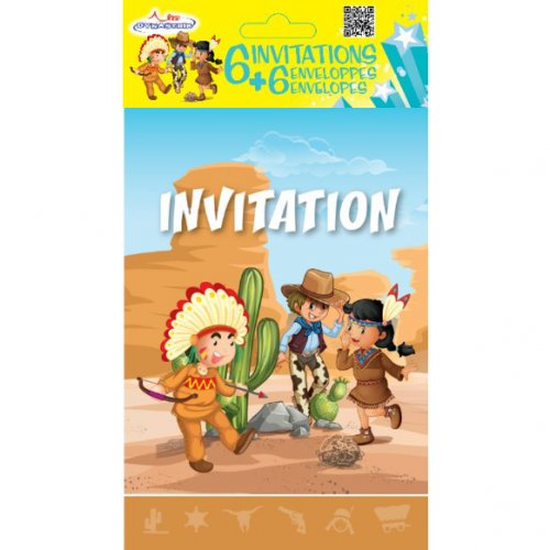 6 Invitations Indiens et Cowboys