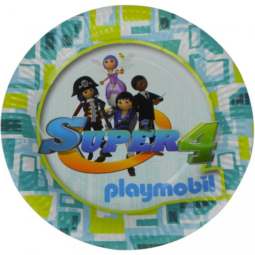 6 Assiettes Super 4 Playmobil