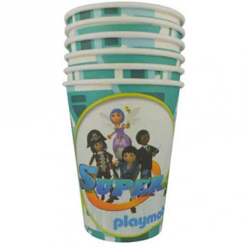 6 Gobelets Super 4 Playmobil