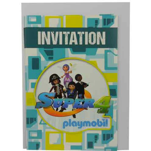 6 Invitations Super 4 Playmobil