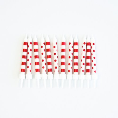 12 Bougies Pois et Rayures - Rouge