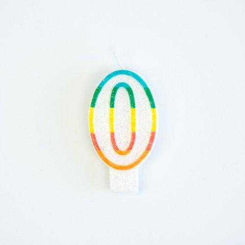 Bougie Chiffre 0 Rainbow Glitter
