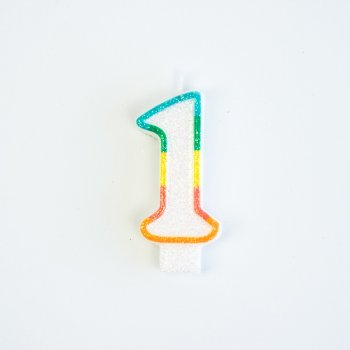 Bougie Chiffre 1 Rainbow Glitter