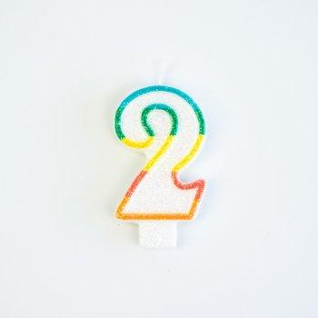 Bougie Chiffre 2 Rainbow Glitter