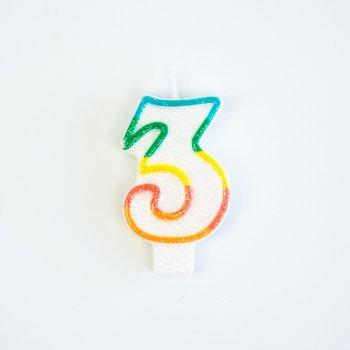 Bougie Chiffre 3 Rainbow Glitter