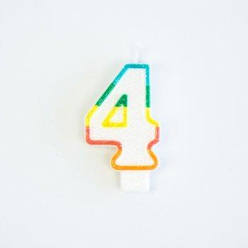 Bougie Chiffre 4 Rainbow Glitter