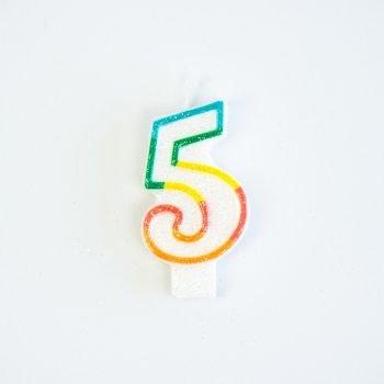 Bougie Chiffre 5 Rainbow Glitter