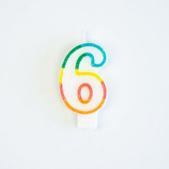 Bougie Chiffre 6 Rainbow Glitter