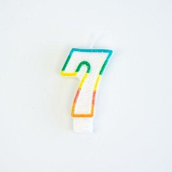 Bougie Chiffre 7 Rainbow Glitter