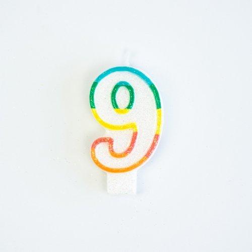 Bougie Chiffre 9 Rainbow Glitter