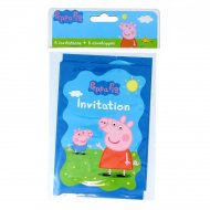 6 Invitations Peppa Pig