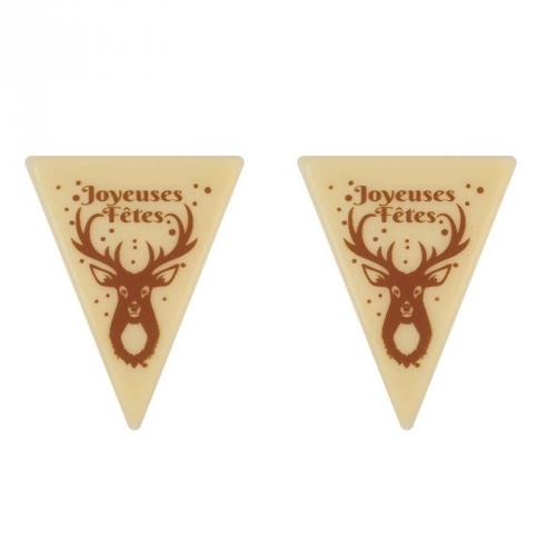 2 Triangles Joyeuses Fêtes Petit Bois - Chocolat Blanc