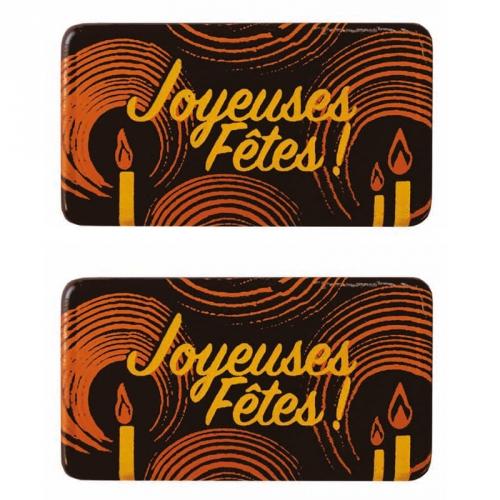 2 Plaquettes Joyeuses Fêtes Bougie - Chocolat Noir