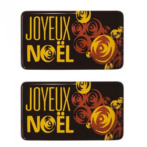 2 Plaquettes Joyeux Noël Fleur - Chocolat Noir