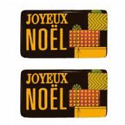 2 Plaquettes Joyeux Noël Paquet Cadeau- Chocolat Noir