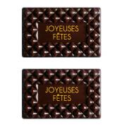 2 Plaquettes Joyeux Noël Capitonné - Chocolat Noir