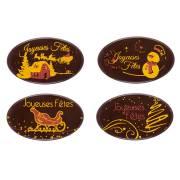 4 Plaquettes Ovales Joyeux Fêtes - Chocolat Noir